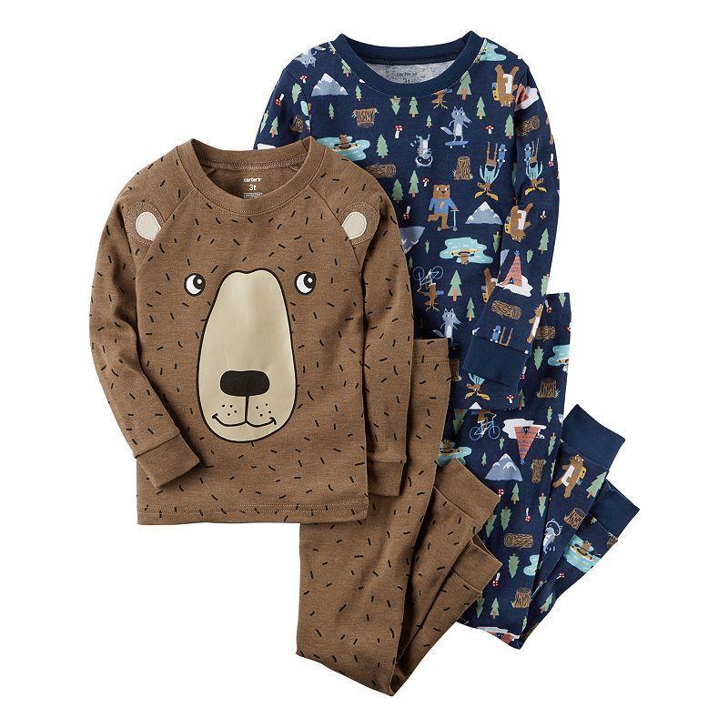 b5a8961bafc3 Carter s Baby Boy 4-pc. Bear Tops   Pants Pajama Set