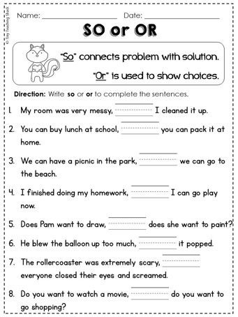 First Grade Common Core Language Arts Conjunctions Worksheet