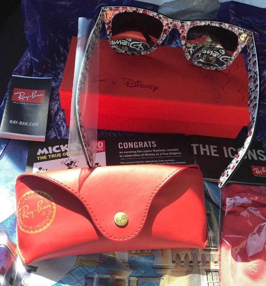 9b258c765c Disney Mickey Mouse 90th Anniversary Ray Ban Wayfarer Sunglasses New In Box   fashion  clothing