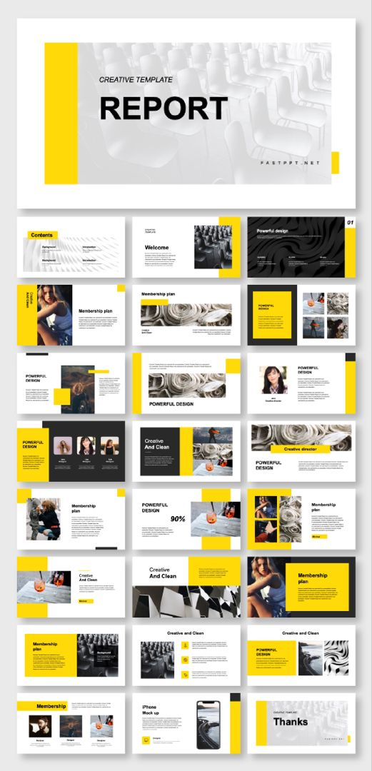 Business Report & Clean Style PowerPoint Template