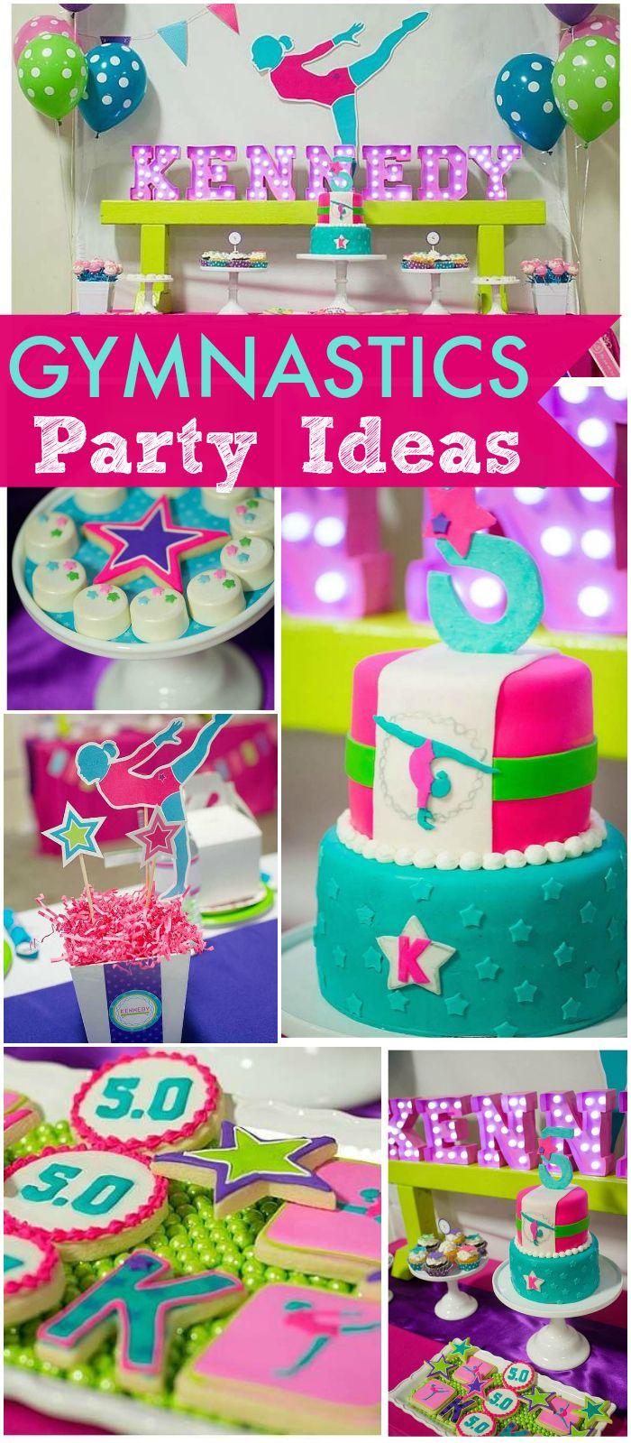 Gymnastics Birthday A Bright Colorful Gymnastics Party Catch My Party Gymnastics Party Gymnast Birthday Party Gymnastics Birthday