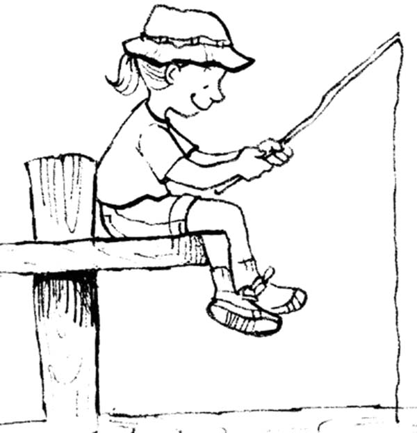 Little Girl Fishing With Palm Tree Pole Coloring Pages Download Print Online Coloring Pages For Free Coloring Pages Online Coloring Pages Online Coloring