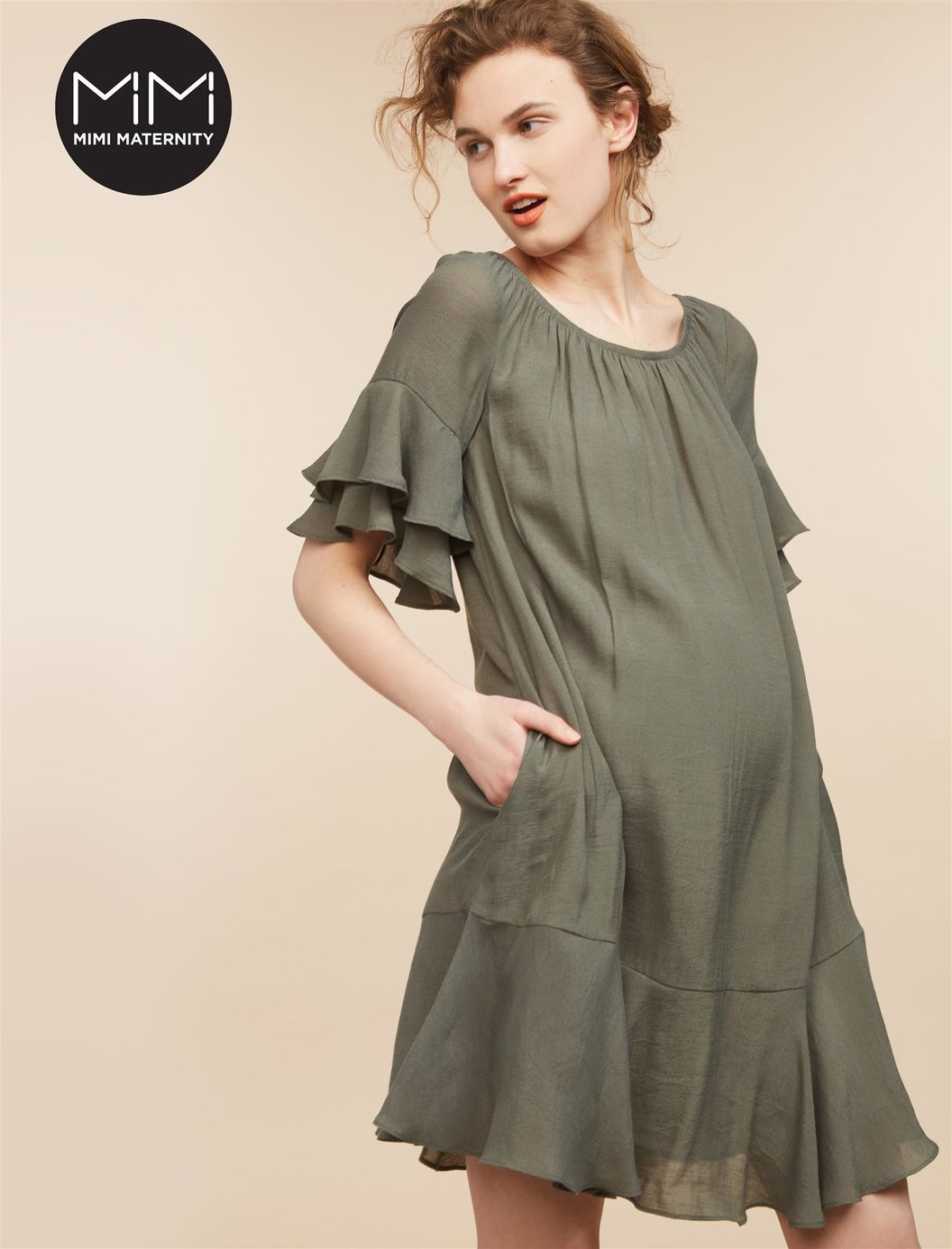 Mimi ruffle sleeve maternity dress ftc disclosure this is an