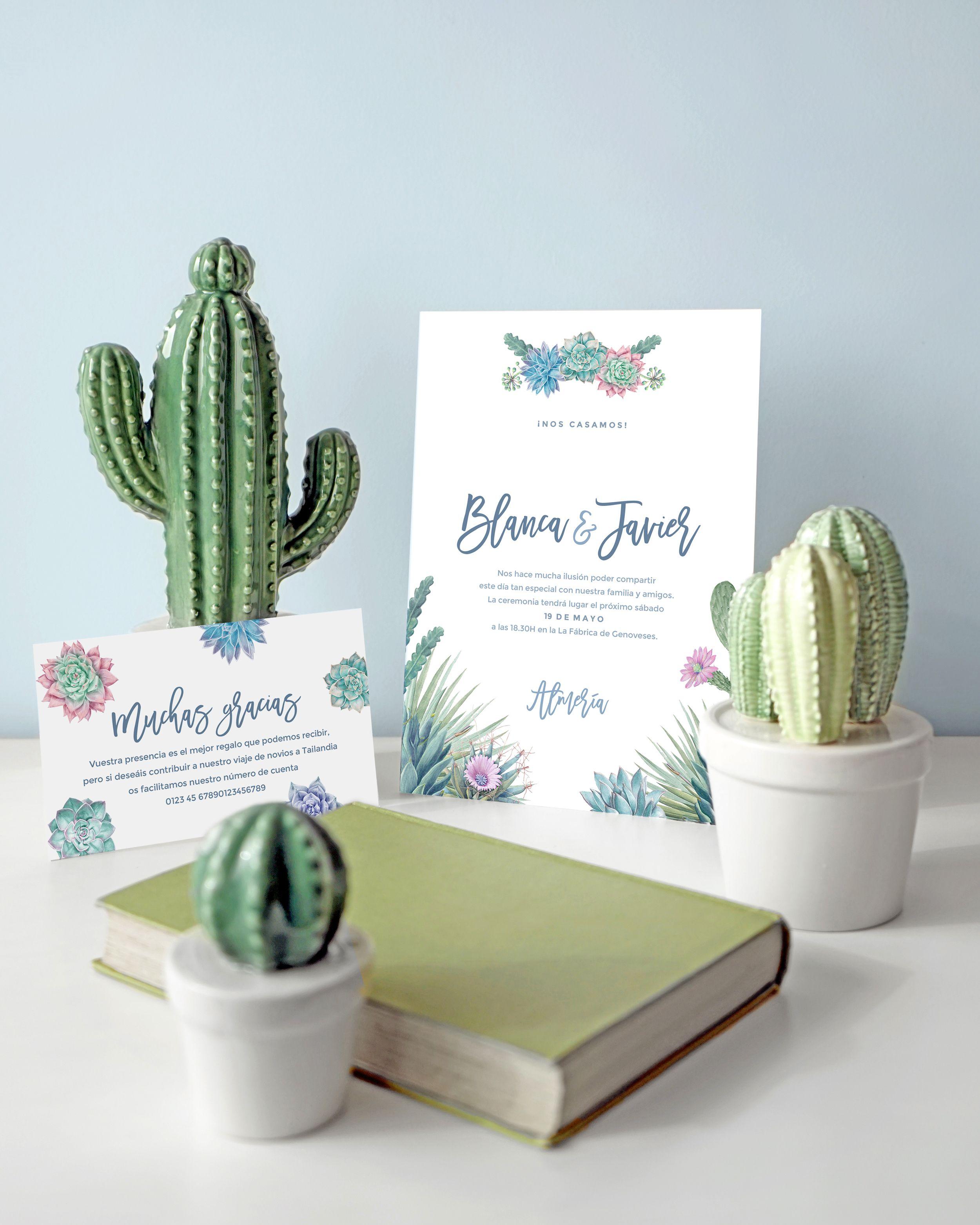 Invitaciones De Boda Cactus By Something Cute Invitaciones