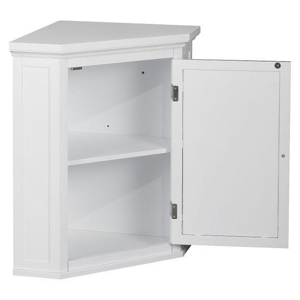 Slone White Shuttered Corner Cabinet - Elegant Home Fashion