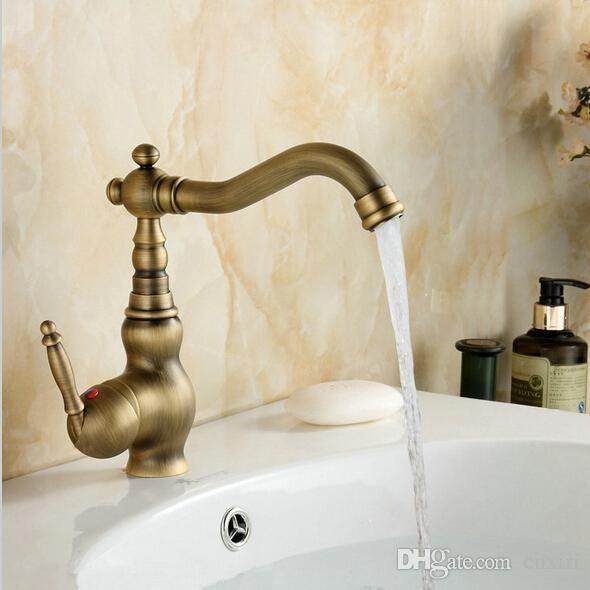2021 Antique Brass Single Handle Bathroom Faucet Lavatory Vessel Sink Basin Mixer Tap Swivel Spout Taps A F008 From Cnxiri 19 10 Dhgate Com Brass Kitchen Faucet Brass Bathroom Brass Sink
