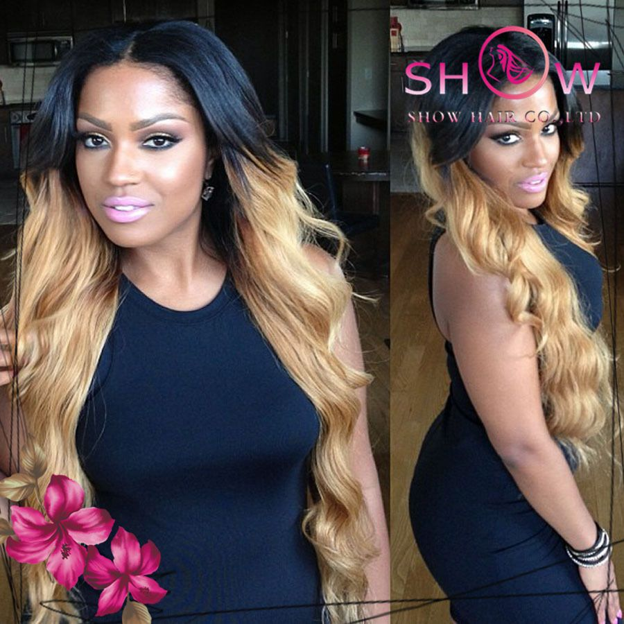 Freeshippping density full thick ends two tone color human hair