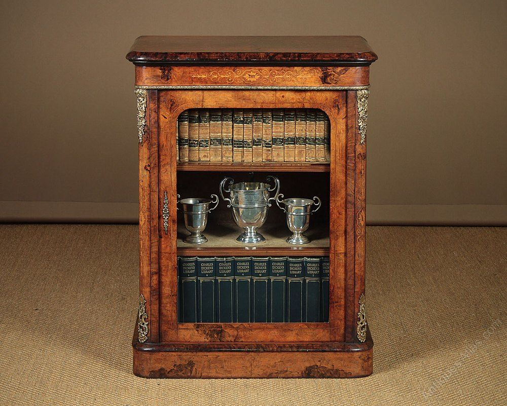 Small Burr Walnut Pier Cabinet C 1860