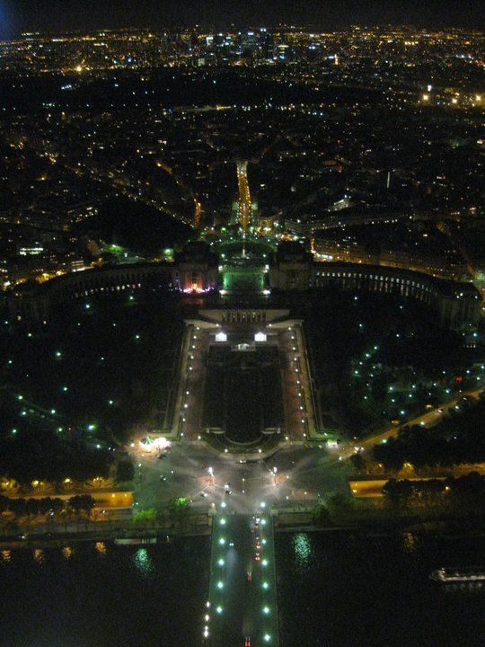 The view from the top of the Eiffel Tower at night