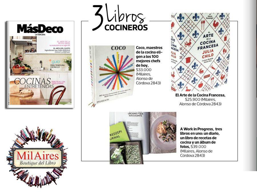 Libros de Cocina recomendados en Revista MásDeco LA Tercera - MilAires, Boutique del Libro.