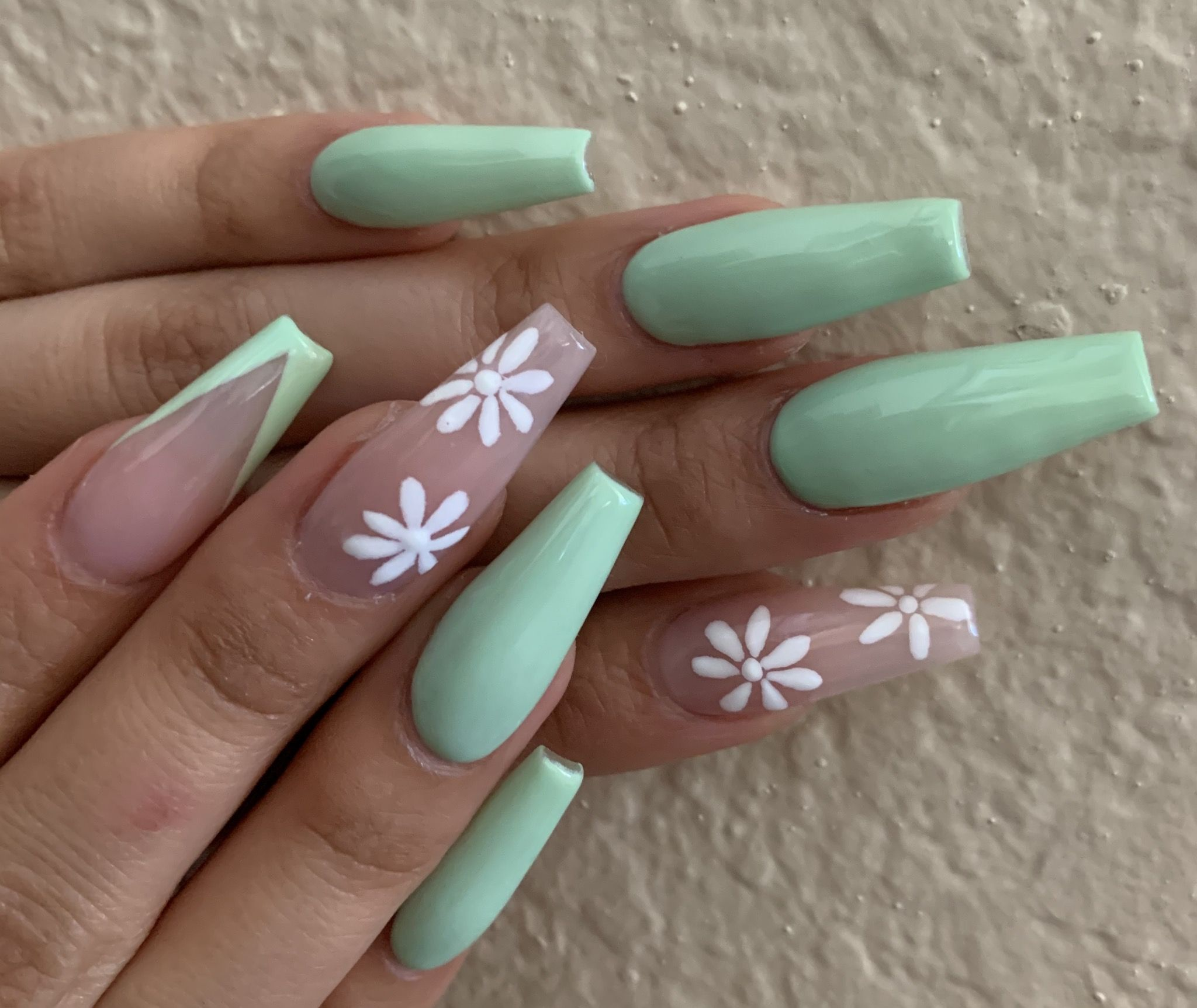 Mint Green Acrylics In 2020 Green Nail Designs Green Acrylic Nails Green Nails