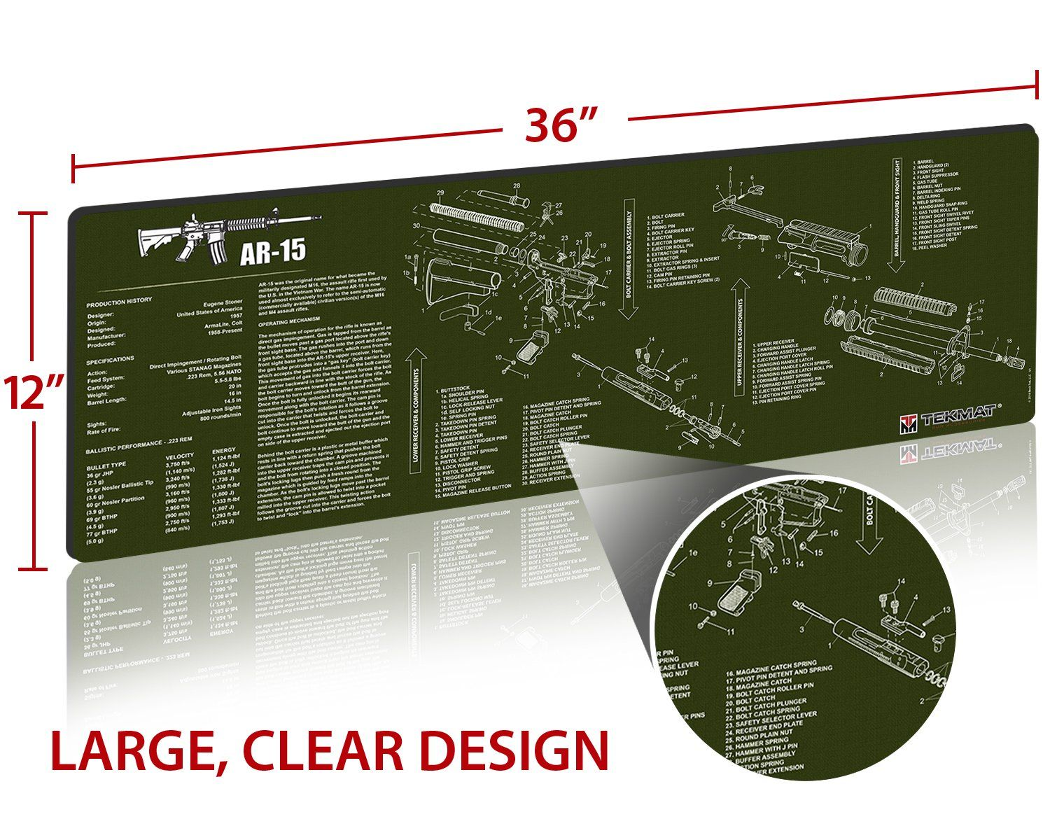 small resolution of tekmat ar15 cleaning mat 12 x 36 thick durable waterproof long gun cleaning mat