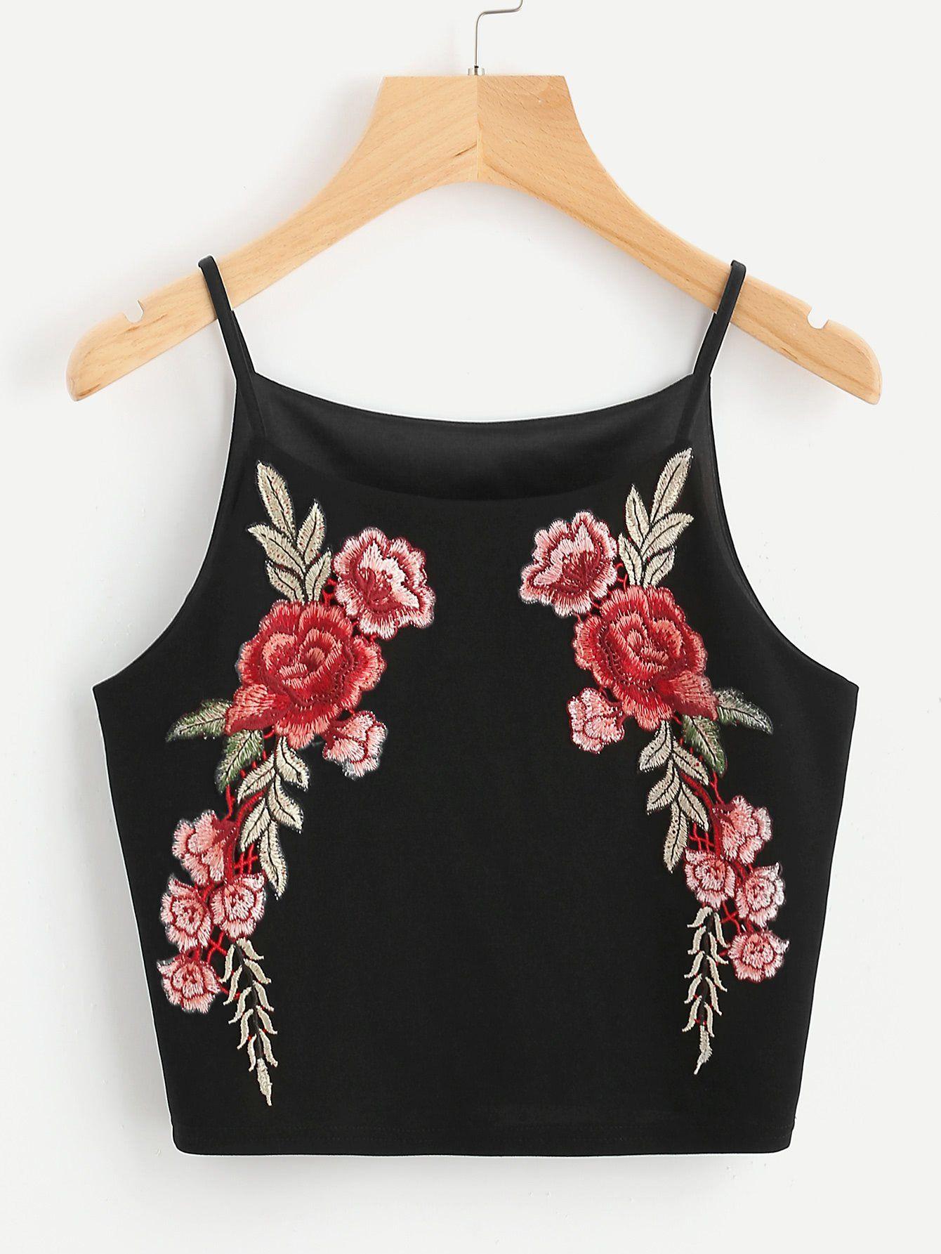 8153c0aced890 Rose Patch Crop Cami Top Crop Shirt
