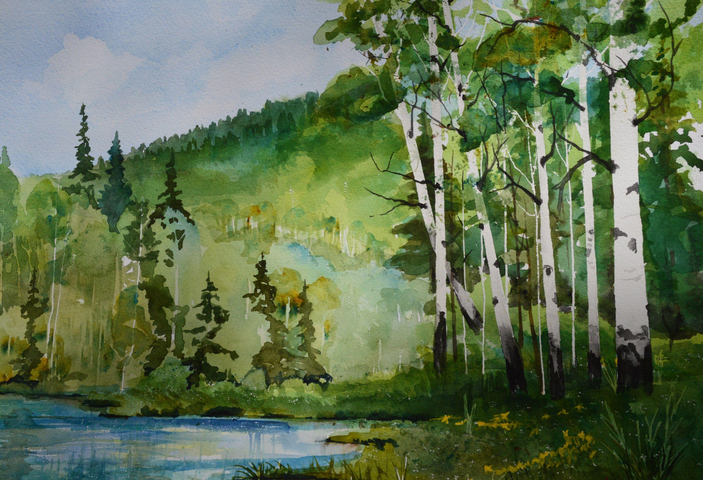 Watercolor Painting Original Fine Art Painting Aspen Tree Painting Colorado Mountain Landscape Lake Home Decor Wall Art Plein Air Aspen Trees Painting Beautiful Landscape Paintings Tree Painting