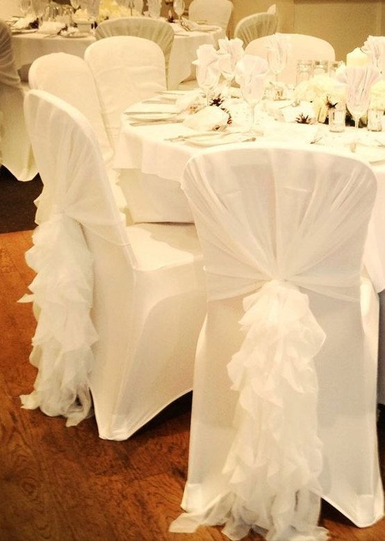 Ruffled Chair Sash Chiffon Chair Sash Chair Hood By Vowwowdecor Chair Covers Wedding Reception Chair White Chair