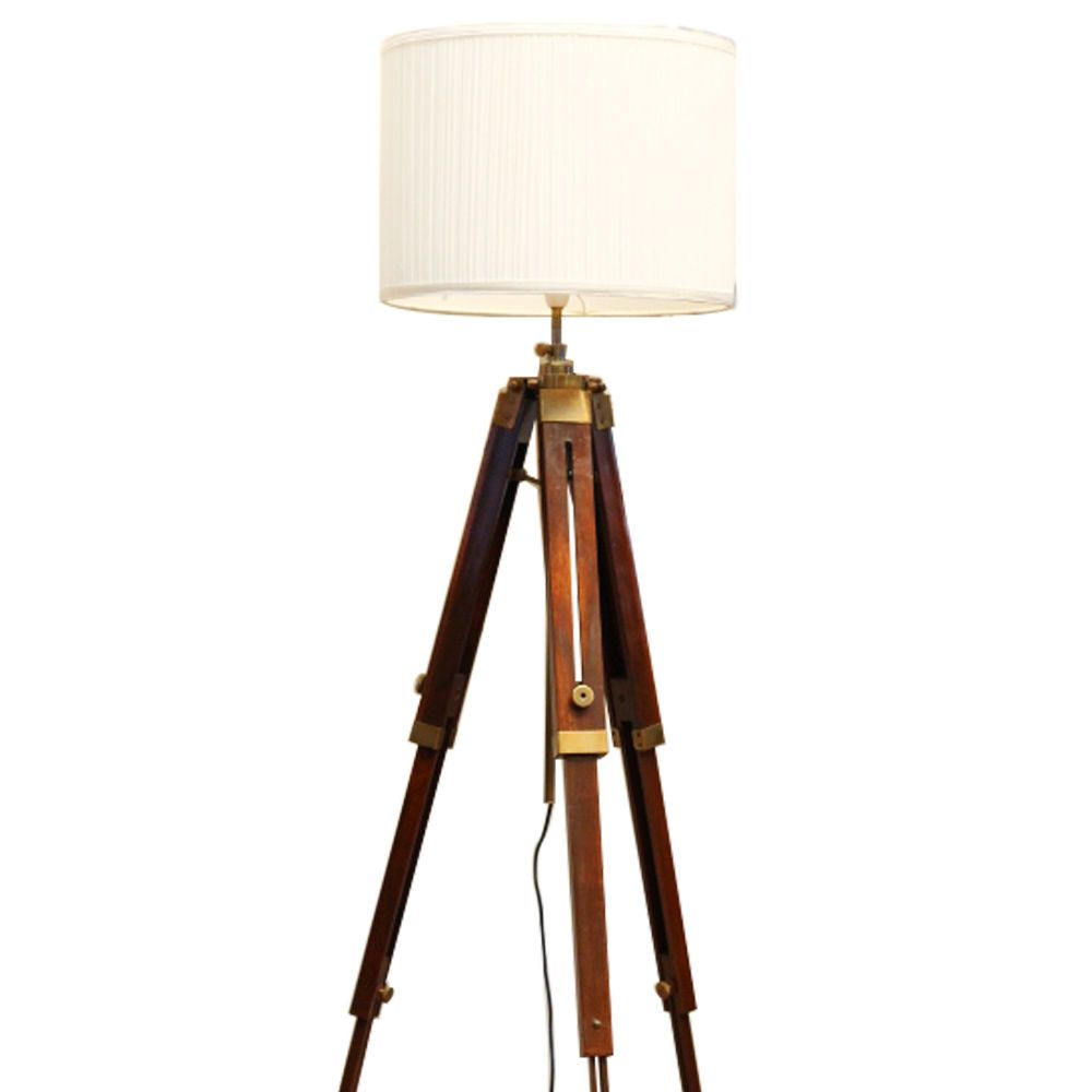 New timber tripod floor lamp brass colour vintage home deco retro no lamp shade