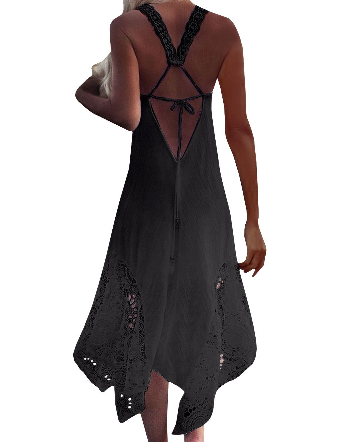 fc87b45b8e56 StyleDome Womens Strappy Lace Crochet Spaghetti Backless Halter Beach  Sundress Sleeveless Bohemian Maxi Dress Black US 18 ** Check out the image  by visiting ...
