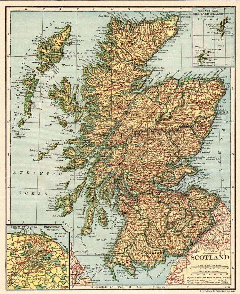 1921 Antique Map of SCOTLAND Collectible Vintage Scotland Atlas Map