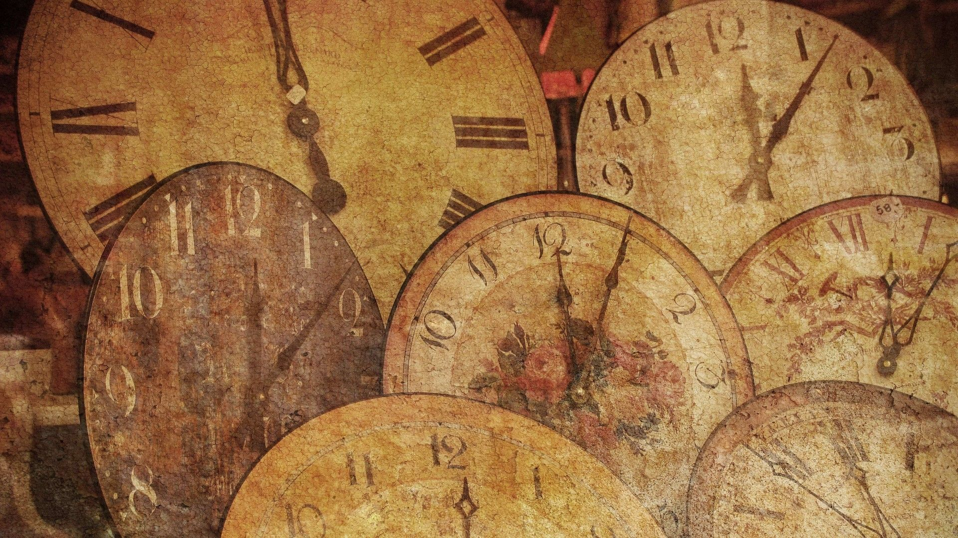 Arrow Antique Texture Clock Wallpaper Desktop Image