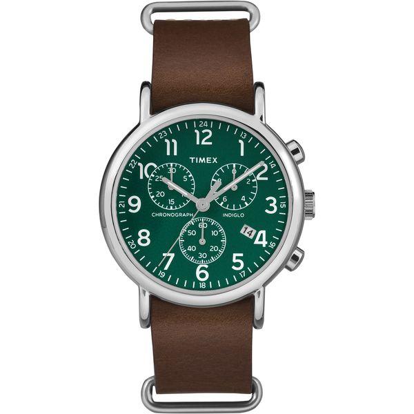 Timex Men's TW2P974009J Weekender Chrono Oversized Brown Leather Slip-Thru Strap…
