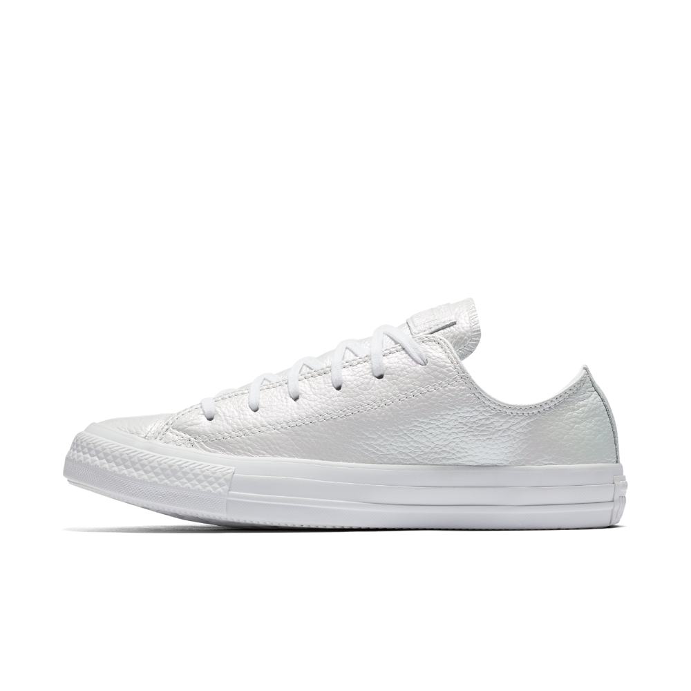 ae13e67bea00 Converse Chuck Taylor All Star Iridescent Leather Low Top Women s Shoe Size  10.5 (White)