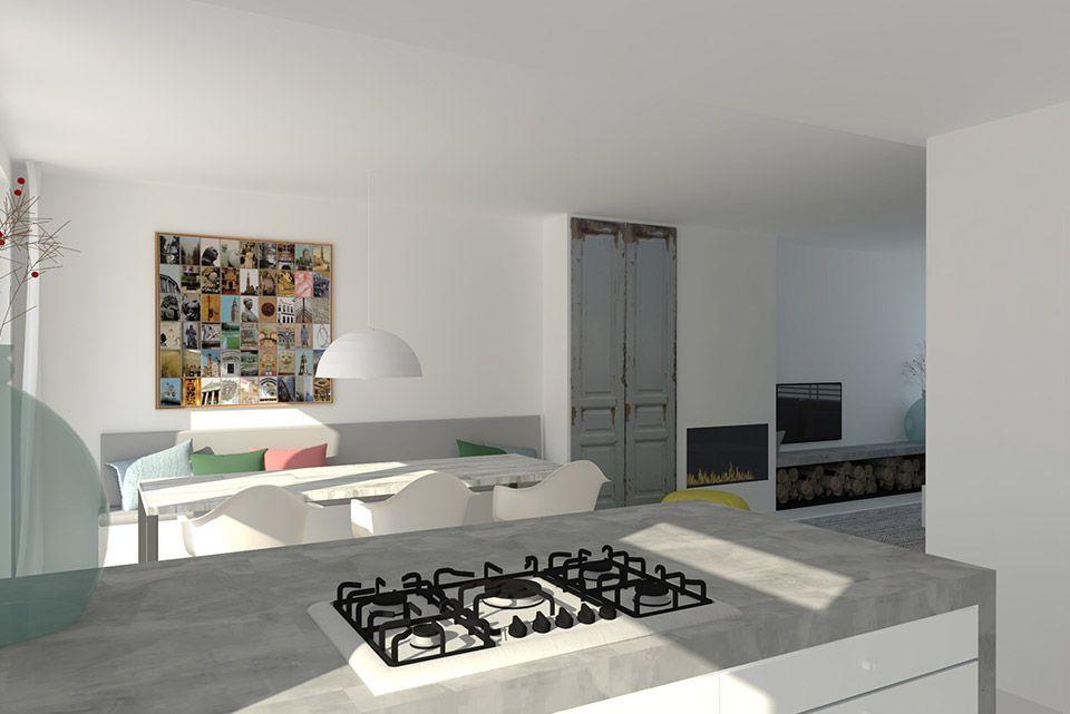 modern en licht interieur met haard kastenwand en bank langs de