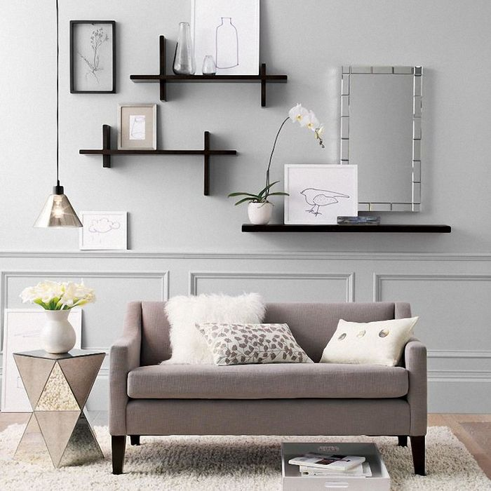 25 cool wall art ideas for large wall shelves tvs and room interior design - Living room wall shelf ...