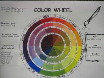 Color Wheel Template Tints Tones Shades Free Handout Warning Uses Comic Sans