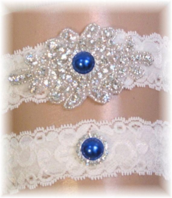 Bridal Ivory Lace Garter Set with Horizon Royal Blue Accents Wedding ...