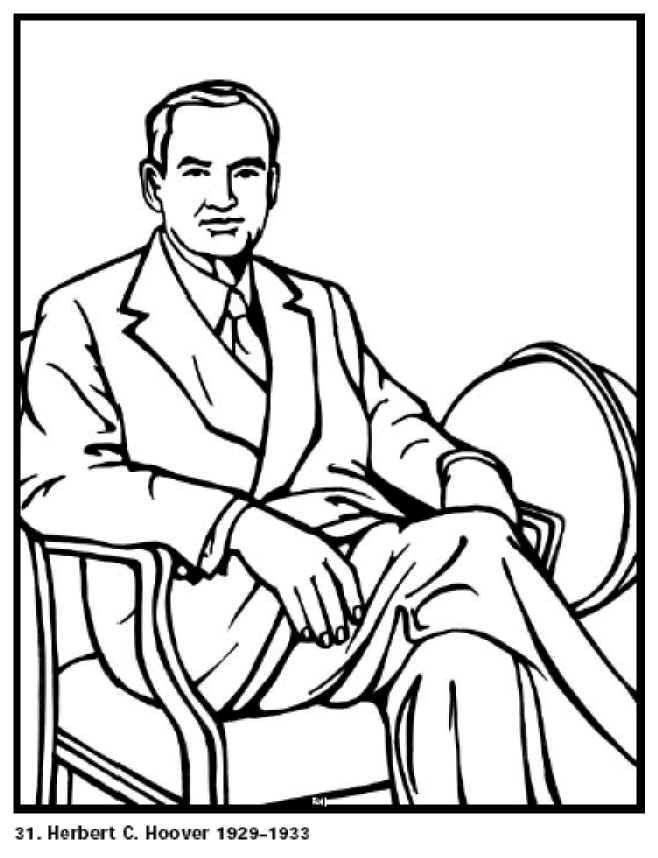 President Herbert Hoover Biography And Pictures Facts Coloring Pages