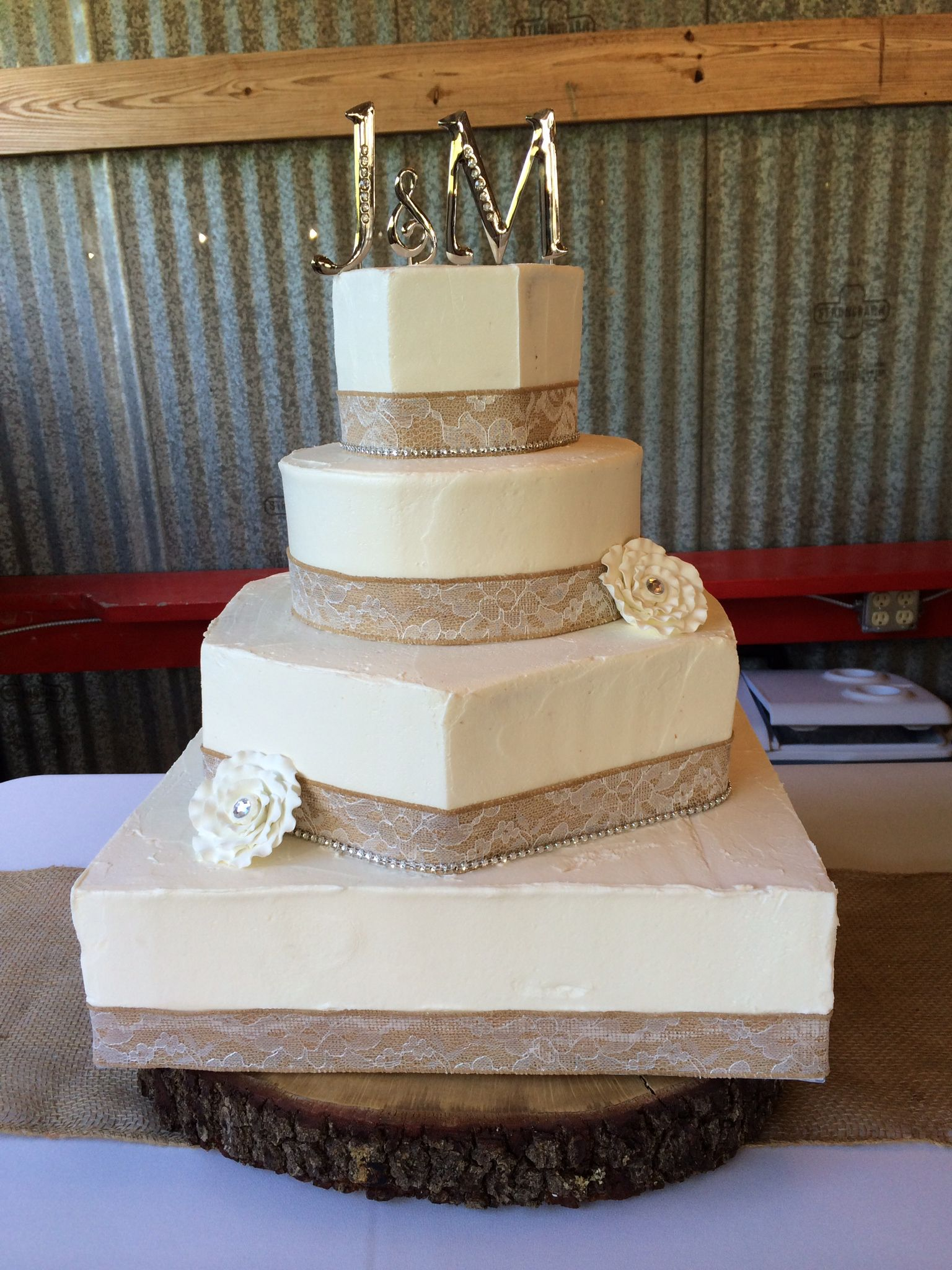 Natural Textured Buttercream Wedding Cake in Indiana, PA