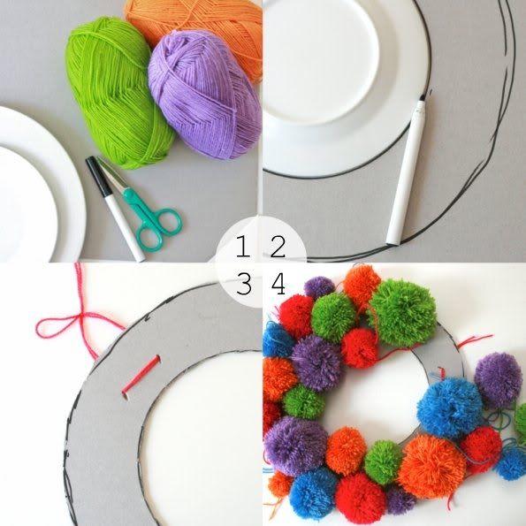 Pom Pom Wreath diy craft craft ideas yarn wreath diy ideas diy crafts do it yourself crafty pom pom yarn diy crafts no knit no knit crafts