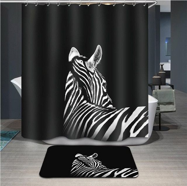 Leopard Shower Curtain 3d Modern Fabric Creative Zebra Bath