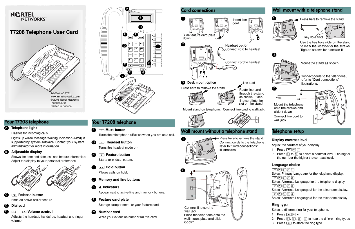 Nortel Networks T Telephone User Card  User Manual
