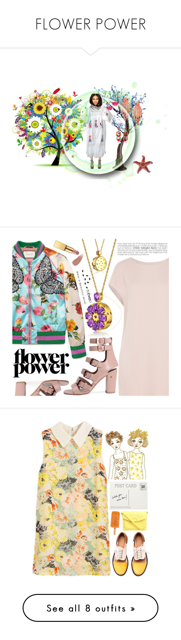 """FLOWER POWER"" by zazaofcanada ❤ liked on Polyvore featuring vintage, boho, Bohemian, mexicandresses, Antonio Marras, Kenneth Jay Lane, Kate Spade, Ranjana Khan, Yumi and Summer"