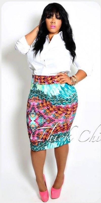 84a7e49ee42 patterned pencil skirt inspo Big Girl Fashion