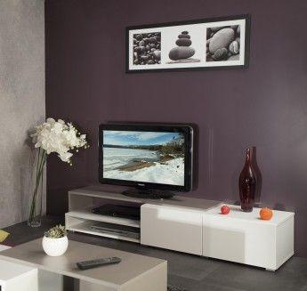 Meuble Tv Design Taupe Laque Blanc Declic Deco Meuble Tele Meuble Tv Mobilier De Salon