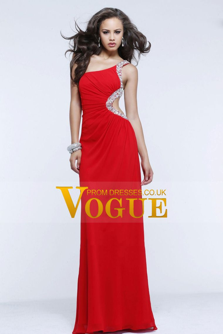 new style one shoulder beaded floor length backless red prom