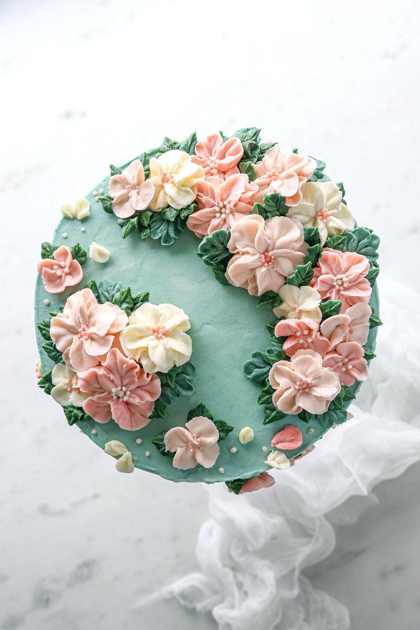 Layered Vanilla Cake With Buttercream Flowers