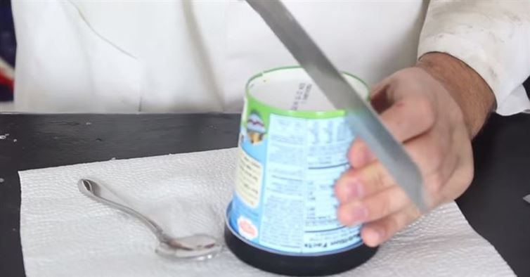 He Saws Through The Bottom Of This. I Am Definitely Doing This The Next Time I Eat Ice Cream