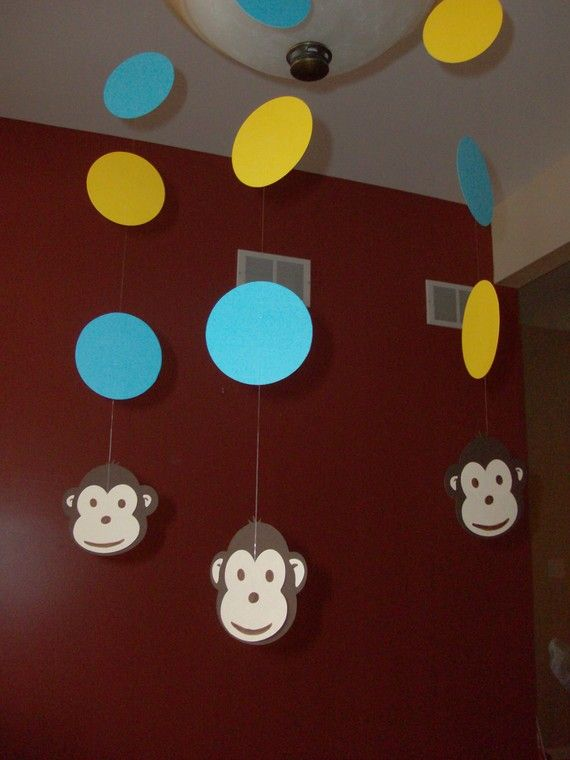 One Mod Monkey Party Happy Birthday Baby by juliesdecorations, $235
