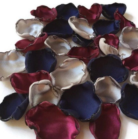 Navy blue marsala maroon and silver flower petals rose petals shabvintiqueflowers shared a new photo on etsy junglespirit Images