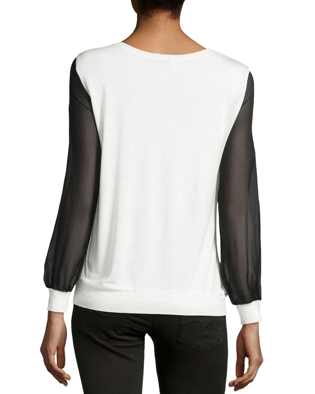 6d8fb53f8b1 Silk Chiffon-Sleeve Sweatshirt. Haute HippieChiffonSilkSweatshirtsSilk ...