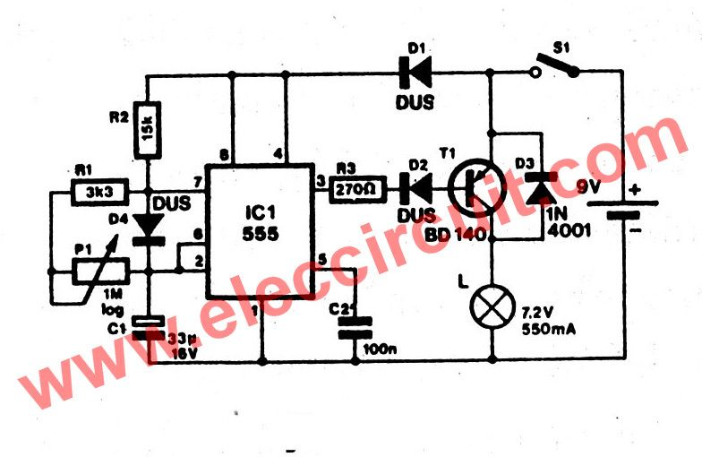 here is power battery saver circuit using ic 555 easy to make time rh pinterest com Battery Symbol Circuit Diagram Parallel Battery Circuit Diagram