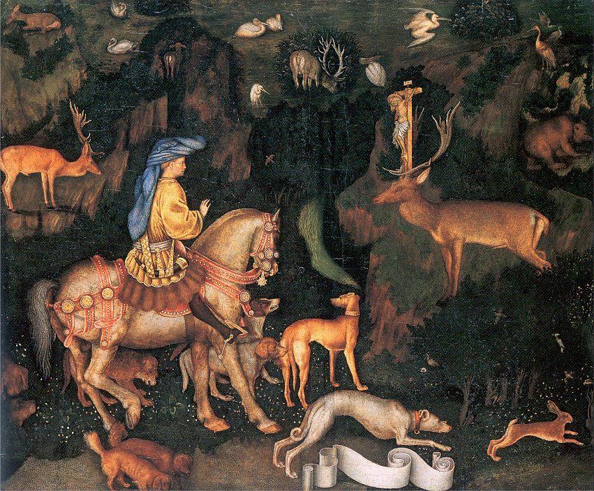 #Pisanello. The Vision of Saint Eustace  ca. 1438-42.