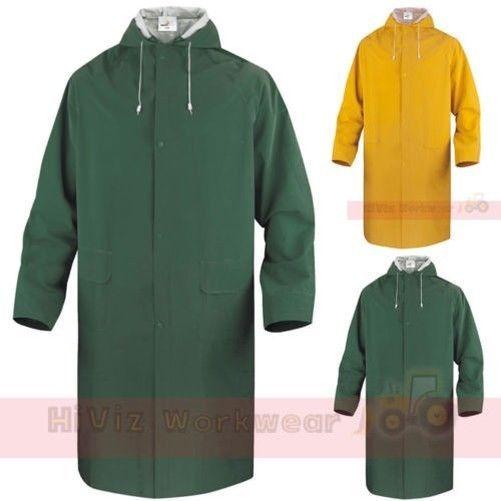 Mens Long Length Waterproof Hooded Rain Coat//Jacket