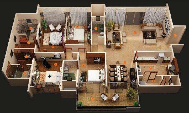 Home Apartment Layout 4 Bedroom House Designs 3d House Plans