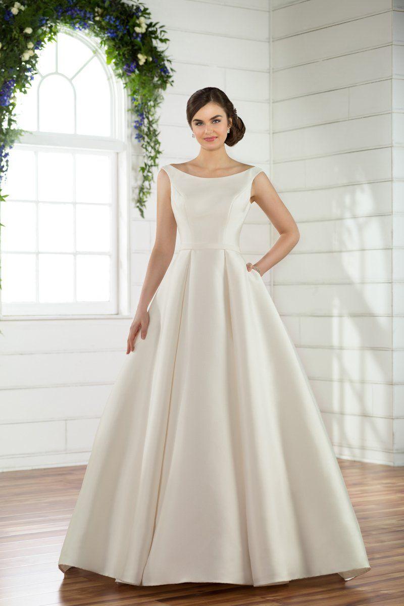 Classic Weddingdress Idea Ballgown With Bateau Neckline Style D2485 From E Essense Of Australia Wedding Dresses Boat Neck Wedding Dress Short Wedding Dress [ 1200 x 800 Pixel ]