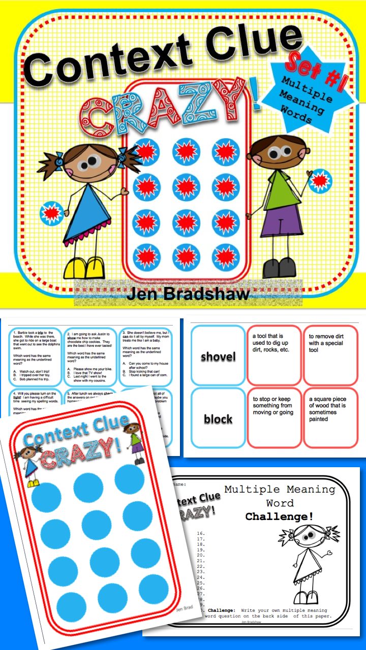 Worksheet Reading Comprehension Games For 2nd Grade context clue kit multiple meaning word games improve comprehension clues activities and comprehension