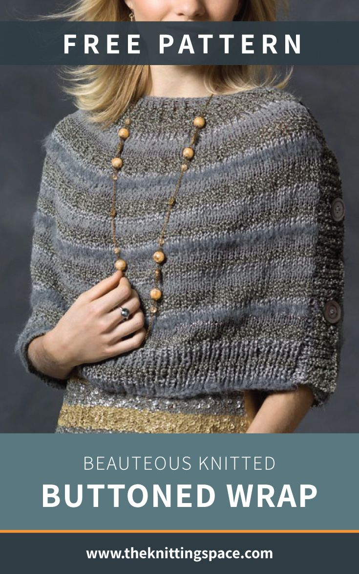 Beauteous Knitted Buttoned Wrap [FREE Knitting Pattern] #autumnwardrobe